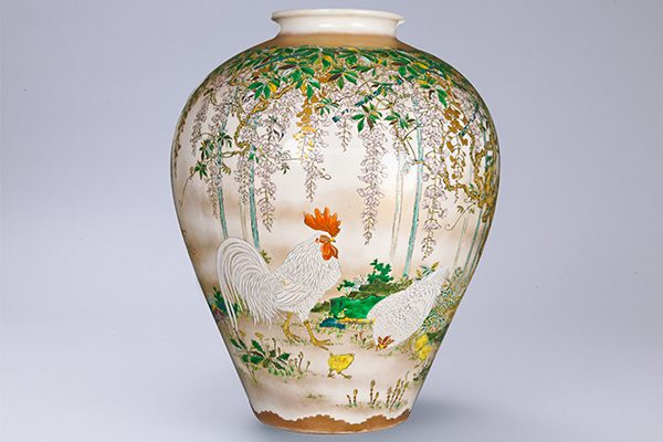No.61 色絵藤に鶏図花器_01
