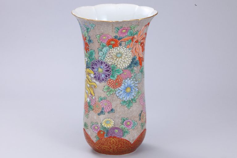 No.58 色絵菊図花瓶_02