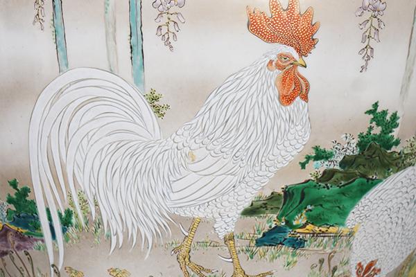 No.61 色絵藤に鶏図花器_02