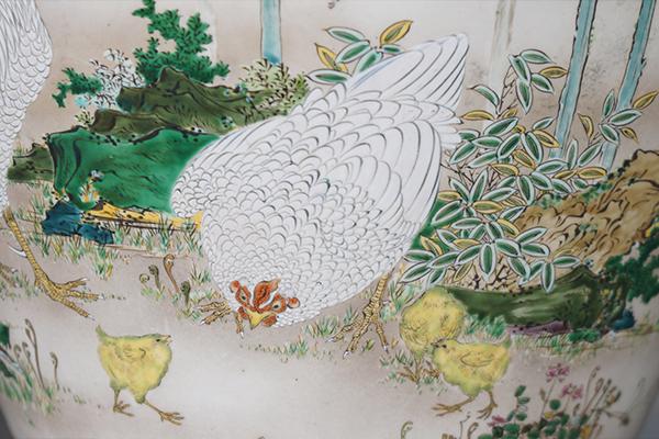 No.61 色絵藤に鶏図花器_03